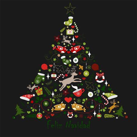vintage postcard: Merry Christmas Tree wishing Happy Christmas in Spanish Language Illustration