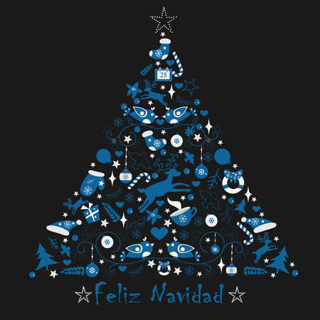 Merry Christmas Tree. Modern Color Design. Winter Card. Vector Illustration. Spanish language wihing Happy CHristmas in Spanish.
