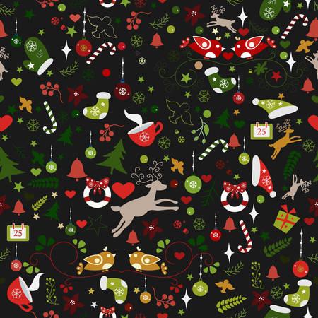 Winter Seamless Pattern. Vector Illustration. Traditional Color Design. Dark Background. Vector Illustration Çizim