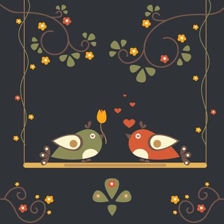 Love Bird Tree. Vector Card for Valentine Day.