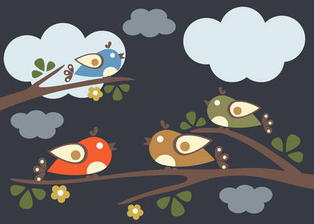 Birds sitting on tree branches. Vector Illustration. Cloudy Dark Night