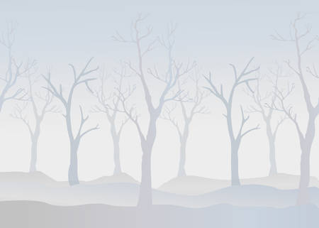 christmas postcard: Winter Trees Background. Winter landscape with trees, fog. Cloudy Foggy Day.Vector Illustration