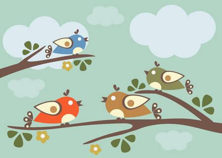 Birds sitting on tree branches. Vector Illustration, sunny day. Blue Sky Illustration