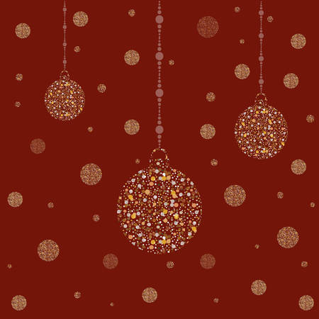 Three New Year Golden Ornaments on red. Golden shimmer. Merry Christmas Ornaments. Vector Illustration