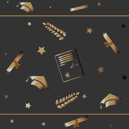 adolescent: Graduation Seamless Pattern. Golden Gloss.