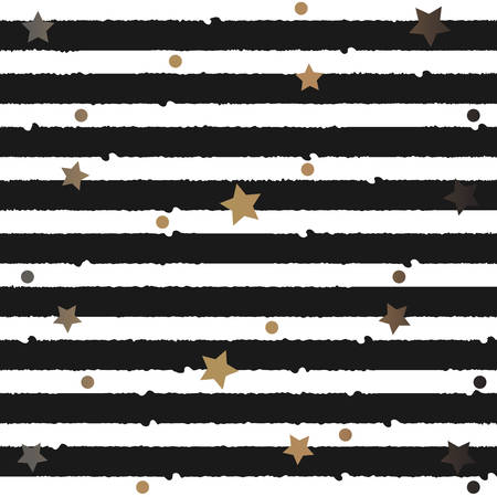 Gold and Silver Frame with dots and stars. For Cards, postcards, backgrounds, covers etc. For Beauty, Luxury Products. Vector Illustration. Stylized Black Lines on white background. Seamless Pattern Illusztráció