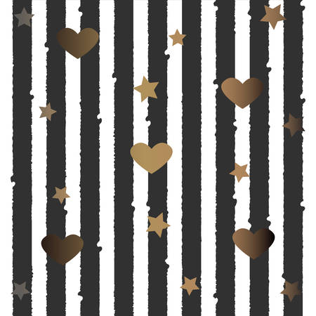 Gold and Silver Frame with hearts and stars. For Cards, postcards, backgrounds, covers etc. For Beauty, Luxury Products. Vector Illustration. Stylized Black Lines on dark background. Seamless Pattern