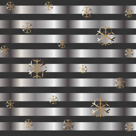 Gold and Silver Frame with snowflakes. For Cards, postcards, backgrounds, covers etc. Suitable for Beauty and Luxury Products. Vector Illustration. Stylized Silver Lines on dark background. Winter Illusztráció