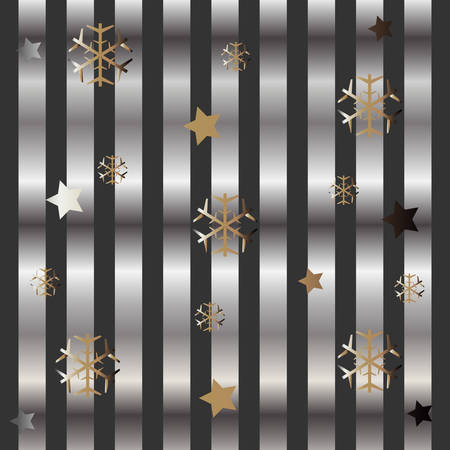 Gold and Silver Frame with snowflakes and stars. For Cards, postcards, backgrounds, covers etc. For Beauty and Luxury Products. Vector Illustration. Stylized Silver Lines on dark background. Winter