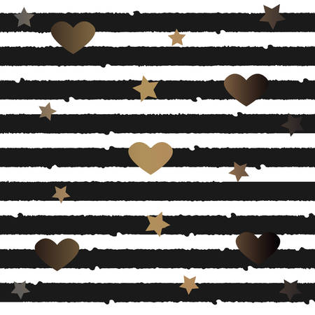 Gold and Silver Frame with hearts and stars. For Cards, postcards, backgrounds, covers etc. For Beauty, Luxury Products. Vector Illustration. Stylized Black Lines on dark background.