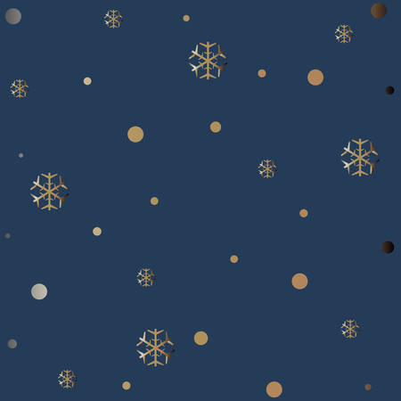 Gold and Silver Pattern on Blue. For Cards, postcards, backgrounds, etc. Winter Holiday, Christmas Themes. Vector Illustration.