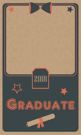 old photo: Graduation 2018 photo Frame. Graduation Ceremony. Flat Design. Retro Style. Retro Graduation Collection.