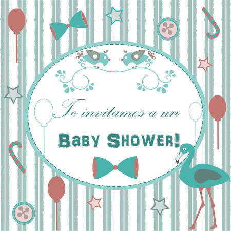 baby announcement card: Baby Shower Invitation Card Design with flamingo, festive balloons, candy, bow, buttons, etc. Spanish Language We invite you to Baby Shower. Baby Shower Collection. Vector Illustration