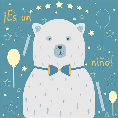baby announcement card: Es un nino means Its a boy in Spanish Language. Baby Boy Birth announcement. Cute Polar Bear announces the arrival of a baby boy. From Baby Shower Collection. Vector Illustration. Illustration