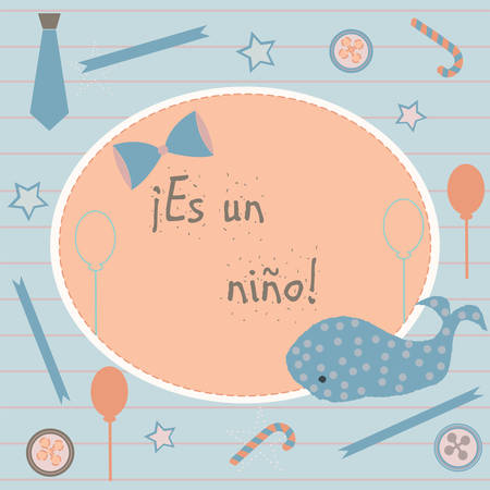 baby announcement card: Es un nino means Its a boy in Spanish Language. Baby Boy Birth announcement. Cute Blue Whale announces the arrival of a baby boy. From Baby Shower Collection. Vector Illustration.