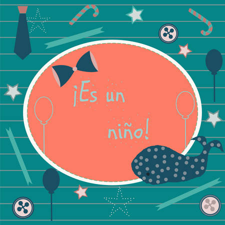Es un nino means Its a boy in Spanish Language. Baby Boy Birth announcement. Cute Blue Whale announces the arrival of a baby boy. From Baby Shower Collection. Vector Illustration.