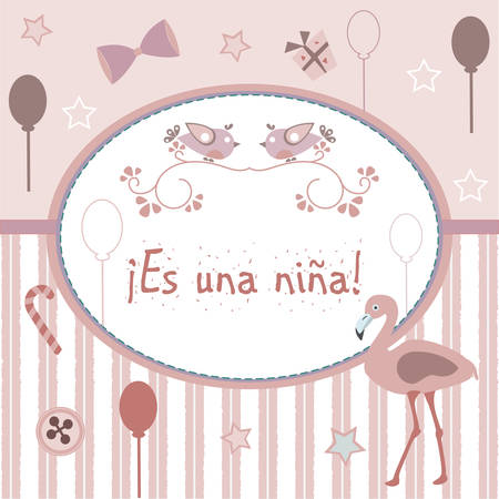 baby announcement card: Es una nina means Its a girl in Spanish Language. Baby Girl Birth announcement. From Baby Shower Collection. Vector Illustration.