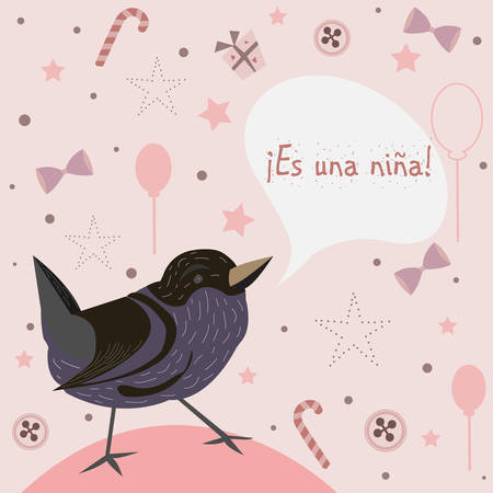 baby announcement card: Baby Girl Birth announcement. Baby shower invitation card. Cute Bird announces the arrival of a baby girl. Es una nina means its a girl Spanish Language. Vector Illustration