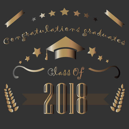 Graduation Class of Two Thousand Eighteen. Congratulations Graduates. Dark Background with Golden Elements. Golden Graduation Collection. Vector Illustration
