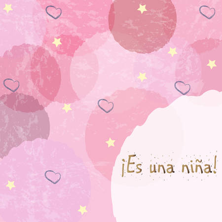 baby announcement card: Es una nina means Its a girl in Spanish Language. Baby Girl Birth announcement. Vector Illustration