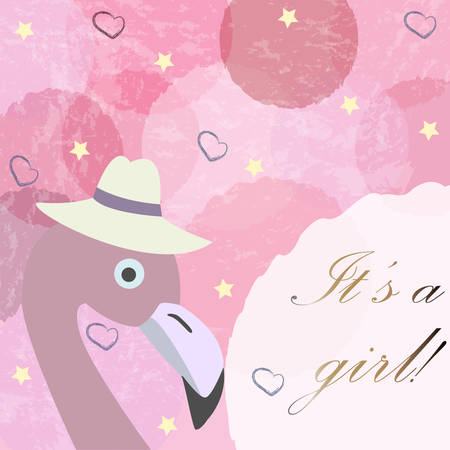 baby announcement card: Its a girl. Baby Girl Birth announcement card, label, greeting, congratulation.Cute Bird announces arrival of baby girl. Pink Background with blue bubbles and stars.