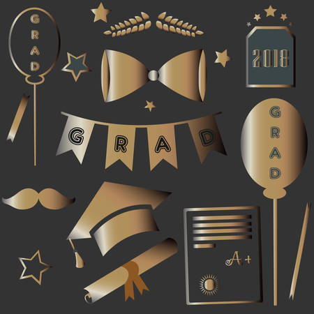 adolescent: Graduation Package. Two Thousand Eighteen. Dark Background with rich golden graduation elements. Bow, tie, cap, mustache, etc. For Posters, banners, T-shirts, greeting cards, invitations, etc.