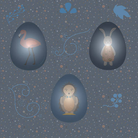 Collection Of Colorful Happy Easter Eggs with animals. Colorful Design Vector Illustration. Иллюстрация
