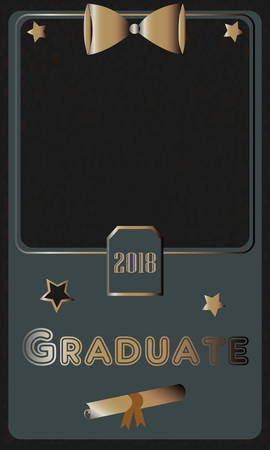 2018 Graduate Photo frame. Rich Golden style on Dark Background. Flat Design. Vector Illustration.