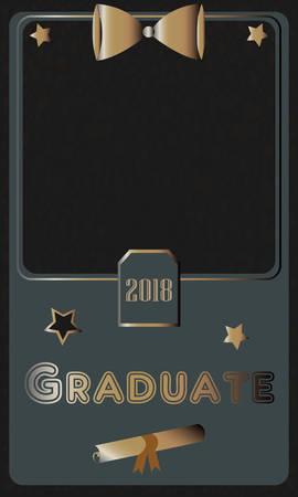 2018 Graduate Photo frame. Rich Golden style on Dark Background. Flat Design. Vector Illustration.