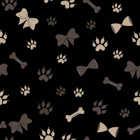 Seamless Dog Paw Pattern. Vector Illustration Ilustração