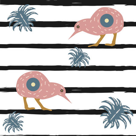 Kiwi Bird Seamless pattern with black stripes and dots. Vector Illustration. Ilustração