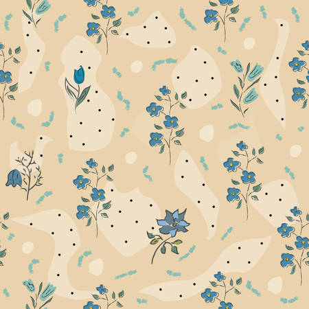 Floral Seamless Pattern. Hand Drawn. Vector Illustration.