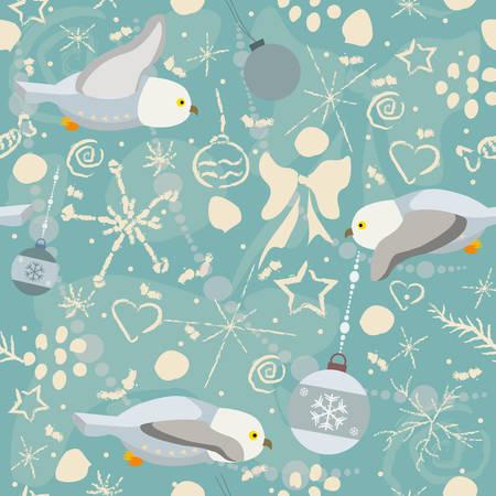 フクロウと冬落書きかわいい冬パターン。