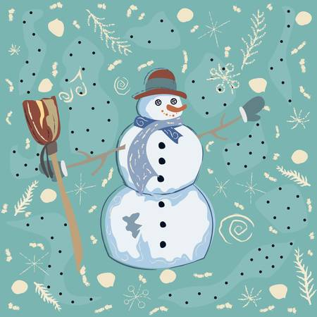christmas backgrounds: Happy Character of Snowman on a cute winter background with doodles. Unique Delicate Design.