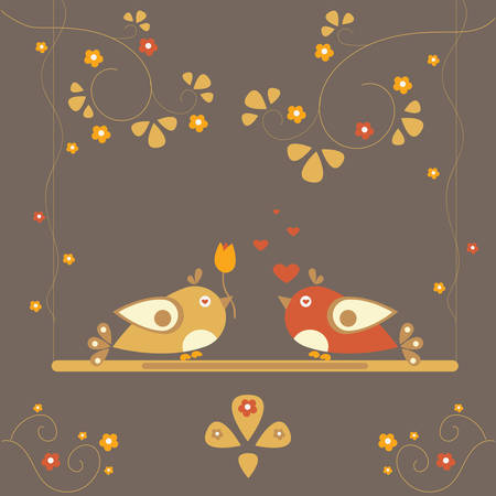Love Bird Tree. Vector Card for Valentine Day. Vector Illustration