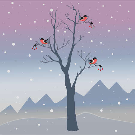 flocks: Winter Tree with few berries and Red Birds on a cold looking background with mountains and dark snowy sky. Season Nature. Snowy Natural Landscape. Vector Illustration. Cozy Winter Accent. Stock Photo