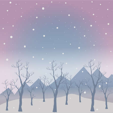Winter Tree with few berries and Red Birds on a cold looking background with mountains and dark snowy sky. Season Nature. Snowy Natural Landscape. Vector Illustration. Cozy Winter Accent. Reklamní fotografie