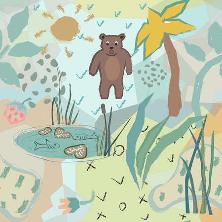 Cute Seamless Pattern with funny bear and fish pond. Unique Childish Design. Vector Illustration.