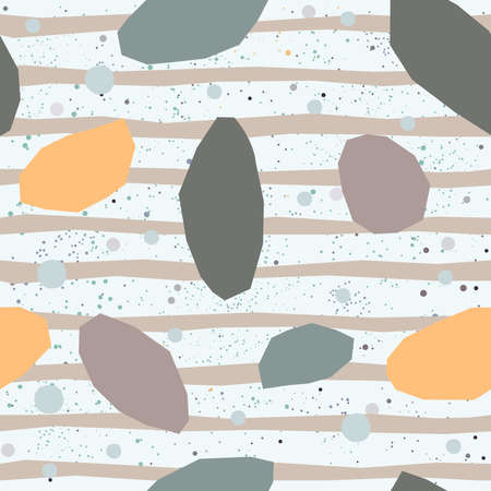Seamless repeating pattern with golden geometric shapes and pastel blue stripes on beige background. Abstract Style Design. Vector Illustration. Stock Photo