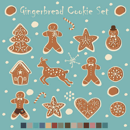 Big Gingerbread Cookie Collection with matching colors for Winter Themes. Creative Bakery. Vector Illustration