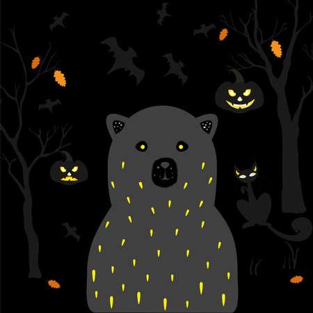 Terrible oso negro con ojos amarillos, gato de ojos vacíos y calabazas con ojos brillantes para temas de Halloween. Ilustración vectorial Foto de archivo