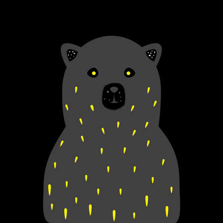 Yellow eyed bear in the darkness. Vector Illustration Stok Fotoğraf