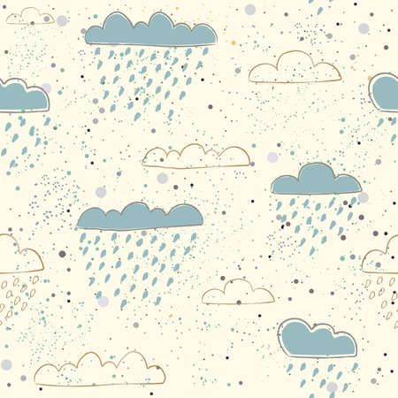 ute Seamless Pattern with hand drawn clouds on paper background with dots. Scandinavian Style. For cards, templates, gift paper, prints, decorations, templates, etc. Vector illustration