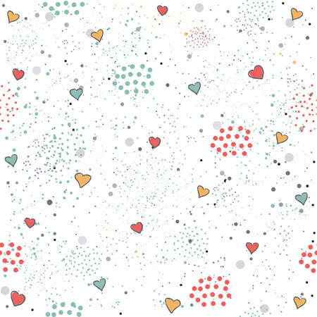 Creative Hand Drawn Seamless Pattern with Hearts.Vector Illustration.
