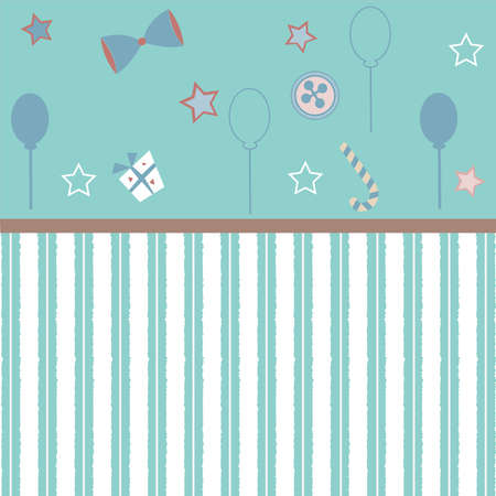 Cute Girlish Frame in pink with festive balloons, bow, gift, candy and stars. Vector Illustration