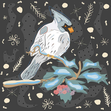 Winter Holiday Greeting Card with Cute Hand Drawn Cardinal Bird on the Rowan Tree. Pastel Blue Background with Spruce Branches and snowflakes.