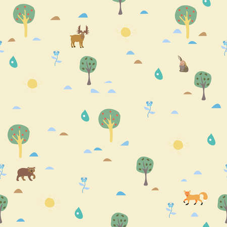 Seamless Summer Pattern with forest animals. For backgrounds, wallpapers, fabric, prints, textiles, wrapping, cards, cover. Reklamní fotografie