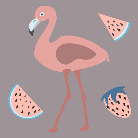 Pink Flamingo with watermelons and strawberry. Retro Style. Vector Illustration.