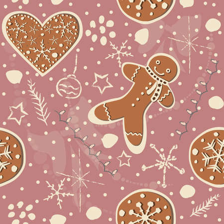 Cute Winter Seamless Pattern with gingerbread cookies. Vector Illustration.