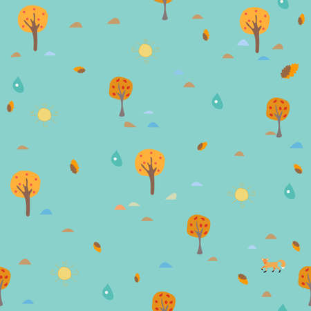 Seamless Autumn Pattern. Trees, Sun and drops of Rain